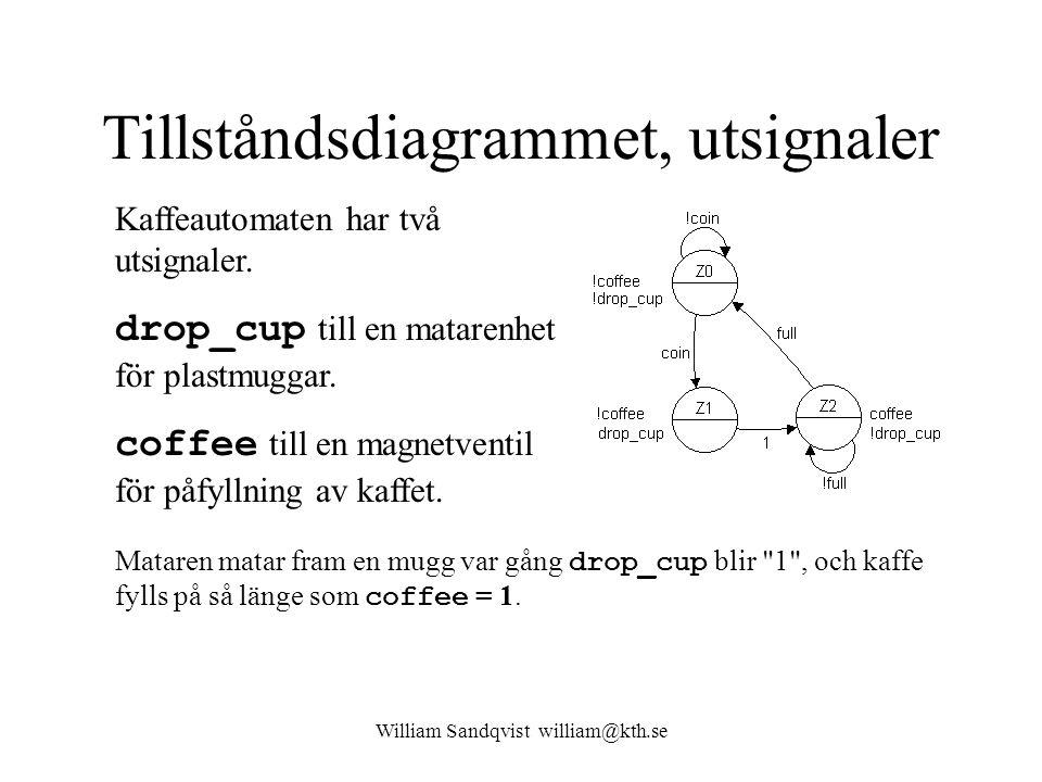 William Sandqvist william@kth.se Tillståndsdiagrammet, utsignaler Kaffeautomaten har två utsignaler.