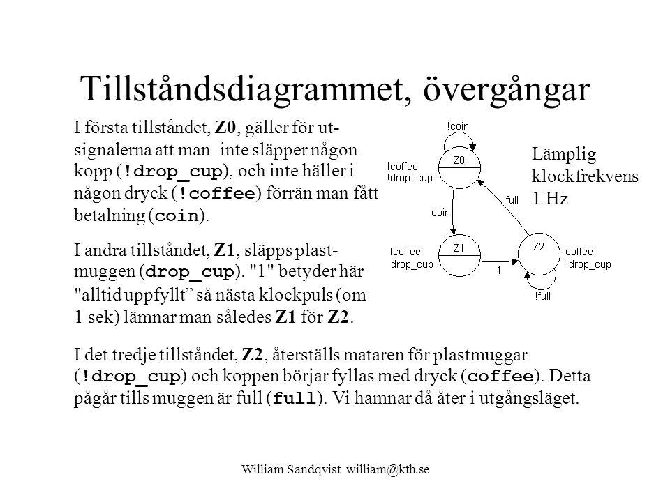 William Sandqvist william@kth.se Tillståndsdiagrammet, övergångar I första tillståndet, Z0, gäller för ut- signalerna att man inte släpper någon kopp ( !drop_cup ), och inte häller i någon dryck ( !coffee ) förrän man fått betalning ( coin ).