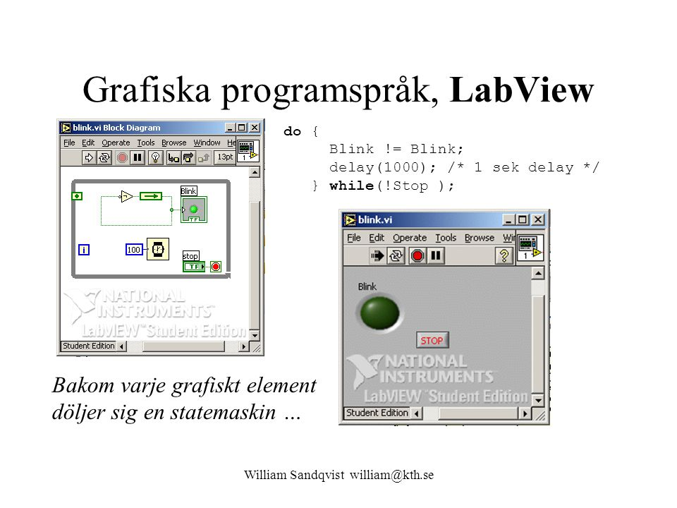 Grafiska programspråk, LabView do { Blink != Blink; delay(1000); /* 1 sek delay */ } while(!Stop ); William Sandqvist william@kth.se Bakom varje grafi