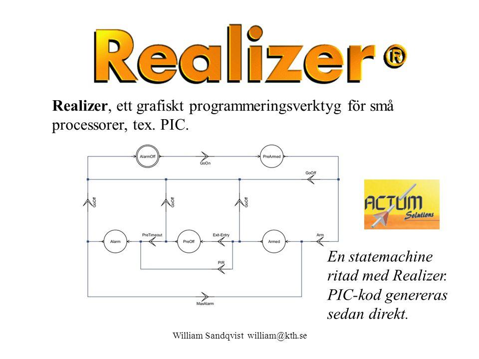 En statemachine ritad med Realizer.PIC-kod genereras sedan direkt.