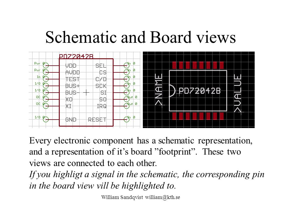 Schematic and Board views William Sandqvist william@kth.se Every electronic component has a schematic representation, and a representation of it's boa