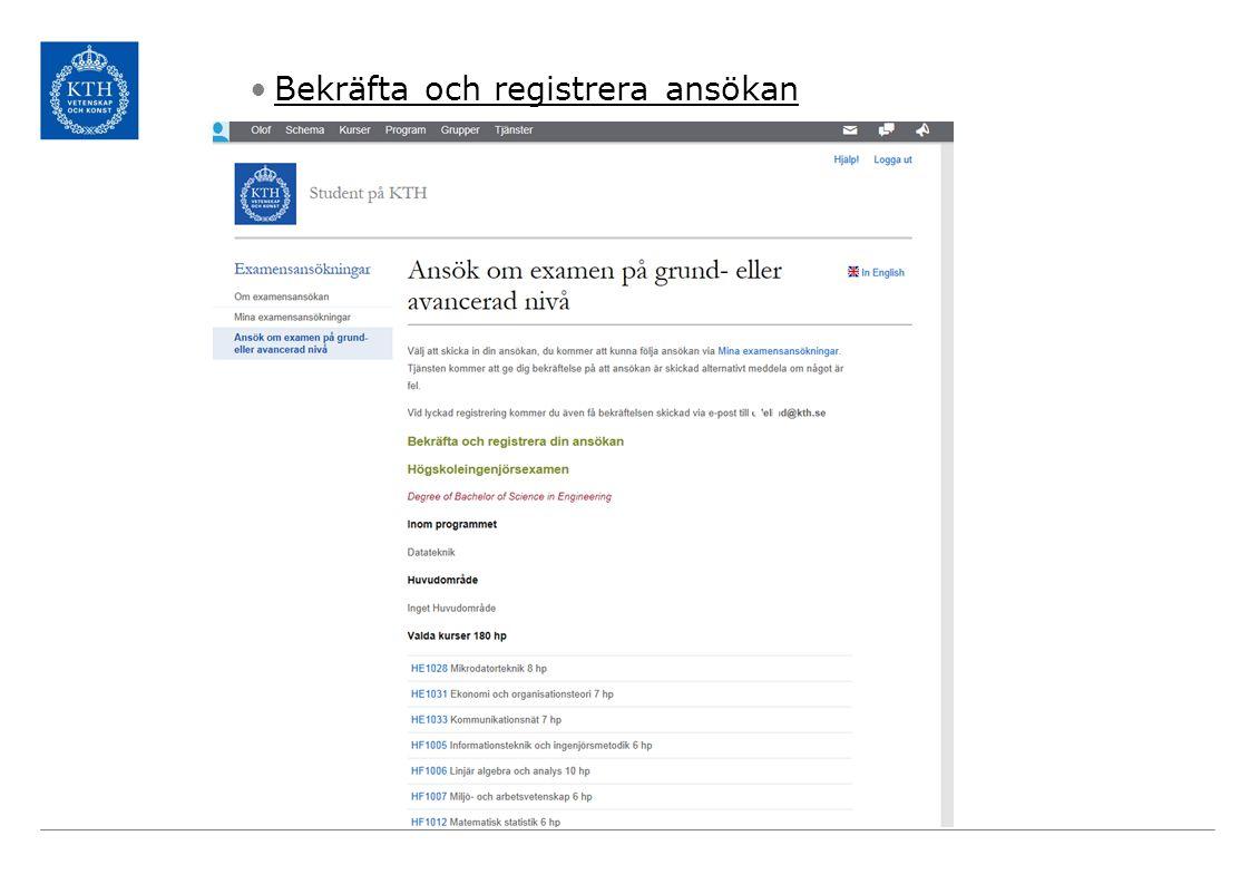 Bekräfta och registrera ansökan