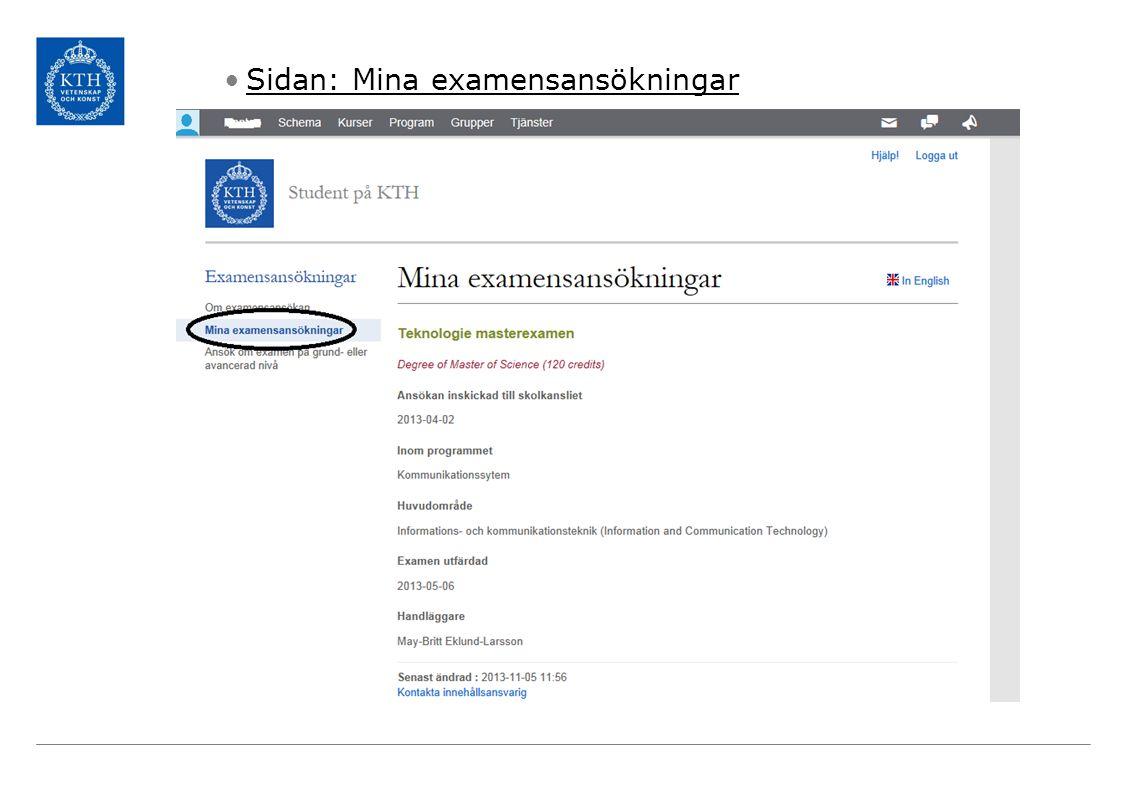 Sidan: Mina examensansökningar