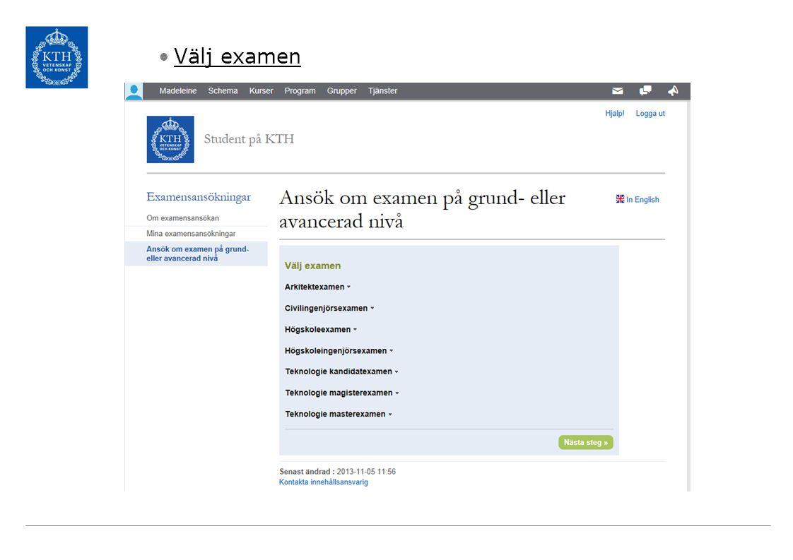 Välj examen