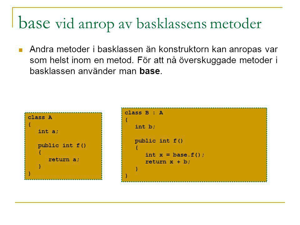base vid anrop av basklassens metoder Andra metoder i basklassen än konstruktorn kan anropas var som helst inom en metod.