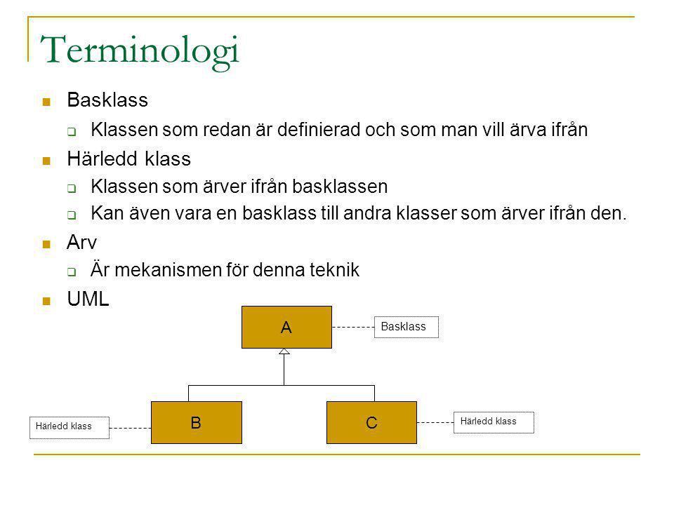 Terminologi Basklass  Klassen som redan är definierad och som man vill ärva ifrån Härledd klass  Klassen som ärver ifrån basklassen  Kan även vara en basklass till andra klasser som ärver ifrån den.