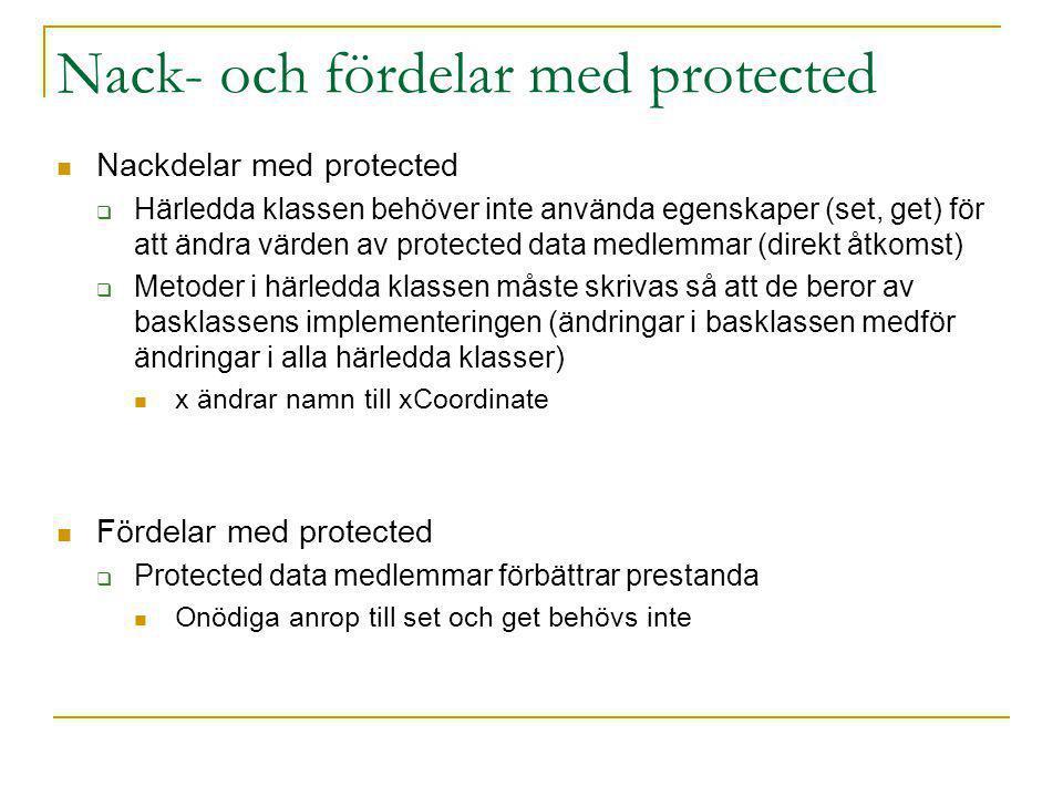 Nackdelar med protected  Härledda klassen behöver inte använda egenskaper (set, get) för att ändra värden av protected data medlemmar (direkt åtkomst)  Metoder i härledda klassen måste skrivas så att de beror av basklassens implementeringen (ändringar i basklassen medför ändringar i alla härledda klasser) x ändrar namn till xCoordinate Fördelar med protected  Protected data medlemmar förbättrar prestanda Onödiga anrop till set och get behövs inte Nack- och fördelar med protected