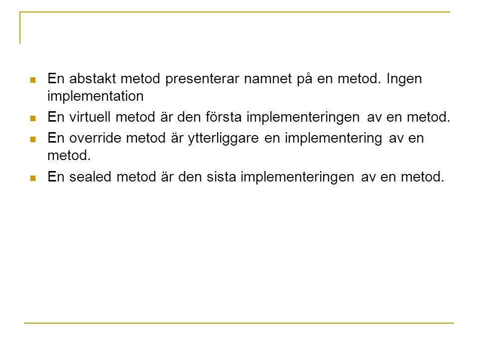 En abstakt metod presenterar namnet på en metod. Ingen implementation En virtuell metod är den första implementeringen av en metod. En override metod