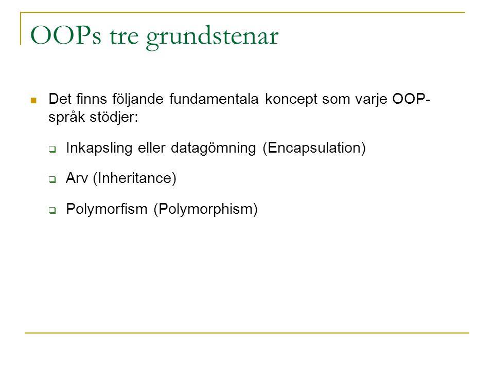 OOPs tre grundstenar Det finns följande fundamentala koncept som varje OOP- språk stödjer:  Inkapsling eller datagömning (Encapsulation)  Arv (Inheritance)  Polymorfism (Polymorphism)