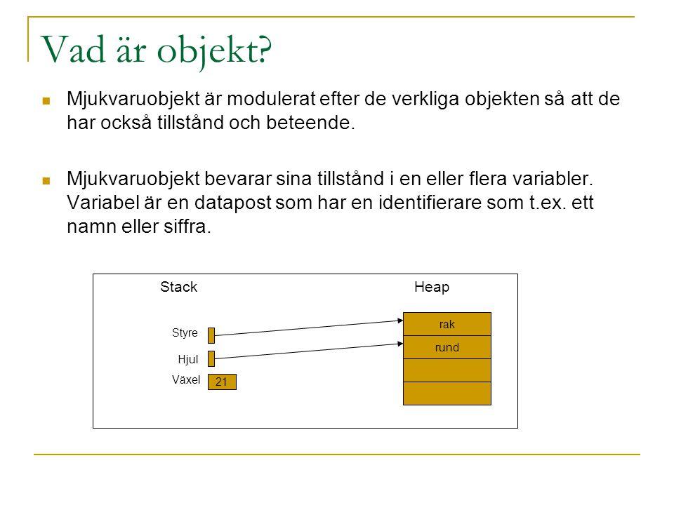 Vad är objekt? Mjukvaruobjekt är modulerat efter de verkliga objekten så att de har också tillstånd och beteende. Mjukvaruobjekt bevarar sina tillstån