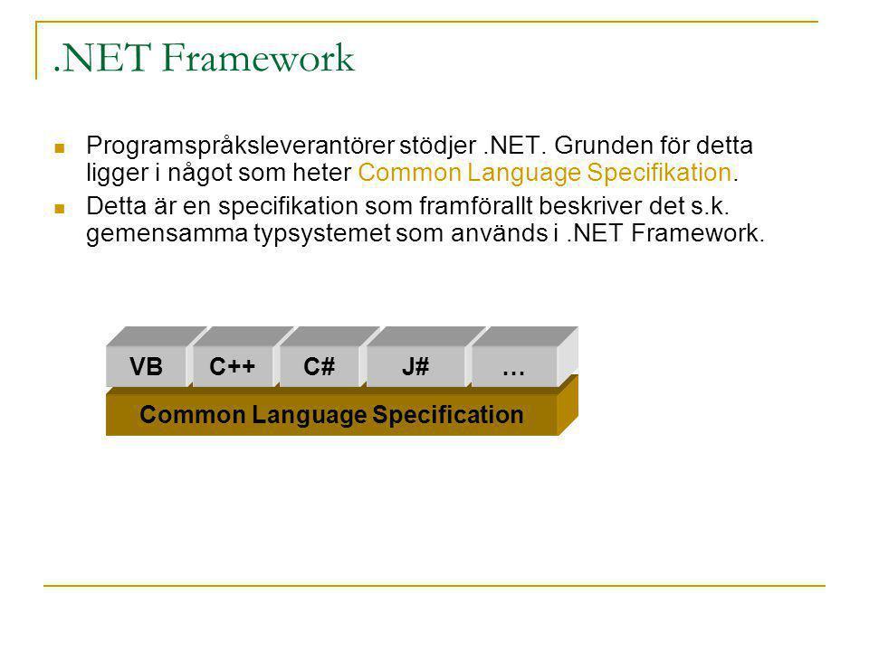 .NET Framework Programspråksleverantörer stödjer.NET. Grunden för detta ligger i något som heter Common Language Specifikation. Detta är en specifikat