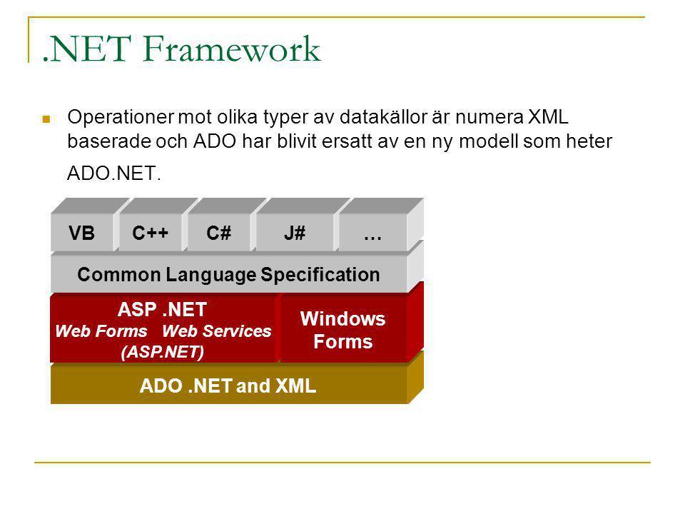 .NET Framework Operationer mot olika typer av datakällor är numera XML baserade och ADO har blivit ersatt av en ny modell som heter ADO.NET. ADO.NET a