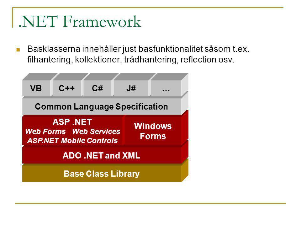 .NET Framework Basklasserna innehåller just basfunktionalitet såsom t.ex. filhantering, kollektioner, trådhantering, reflection osv. Base Class Librar