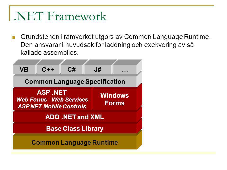.NET Framework Grundstenen i ramverket utgörs av Common Language Runtime. Den ansvarar i huvudsak för laddning och exekvering av så kallade assemblies