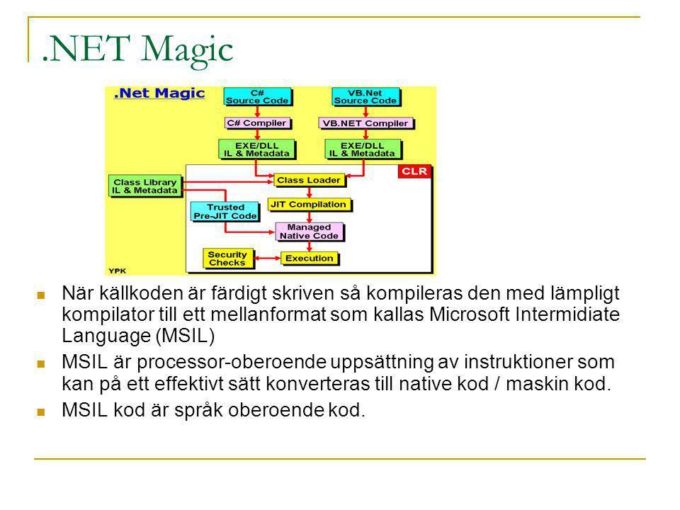 .NET Magic När källkoden är färdigt skriven så kompileras den med lämpligt kompilator till ett mellanformat som kallas Microsoft Intermidiate Language (MSIL) MSIL är processor-oberoende uppsättning av instruktioner som kan på ett effektivt sätt konverteras till native kod / maskin kod.