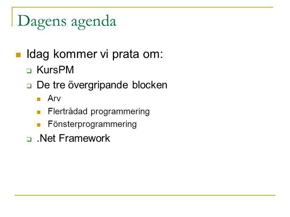 Dagens agenda Idag kommer vi prata om:  KursPM  De tre övergripande blocken Arv Flertrådad programmering Fönsterprogrammering .Net Framework