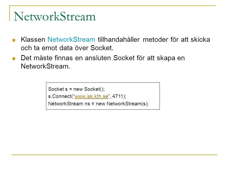 NetworkStream Klassen NetworkStream tillhandahåller metoder för att skicka och ta emot data över Socket. Det måste finnas en ansluten Socket för att s