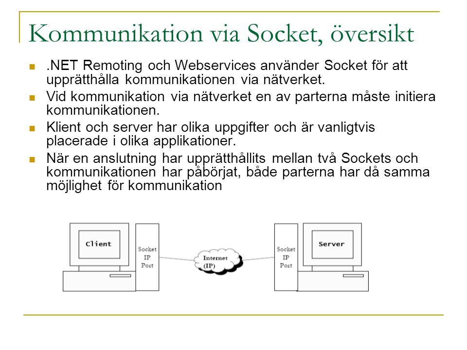Kommunikation via Socket, översikt.NET Remoting och Webservices använder Socket för att upprätthålla kommunikationen via nätverket. Vid kommunikation