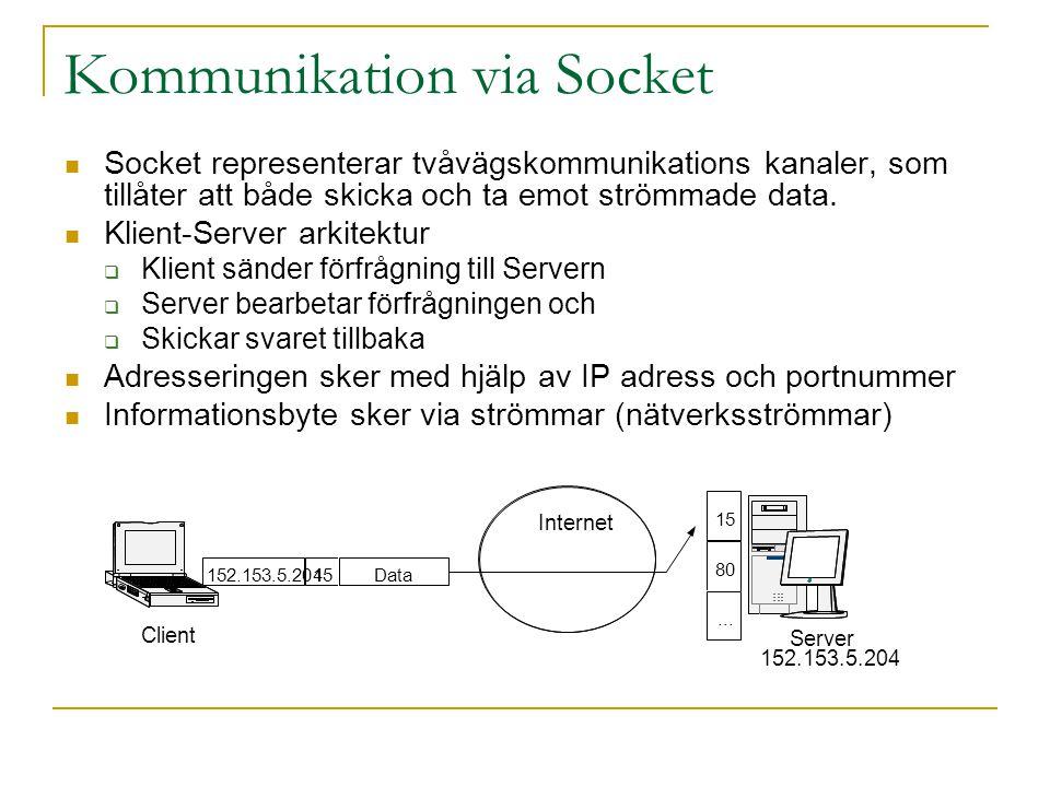 Kommunikation via Socket Socket representerar tvåvägskommunikations kanaler, som tillåter att både skicka och ta emot strömmade data. Klient-Server ar