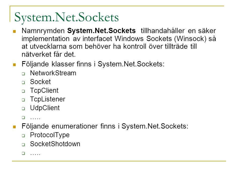 TcpClient public class SocketClient { public static void Main() { try { TcpClient tcpc = new TcpClient(); tcpc.Connect(IPAddress.Loopback, 5000); StreamWriter sw = new StreamWriter(tcpc.GetStream()); StreamReader sr = new StreamReader(tcpc.GetStream()); sw.Write( Hello server ); MessageBox.Show(sr.ReadLine()); sw.Close(); sr.Close(); tcpc.Close(); } catch (Exception e) {...