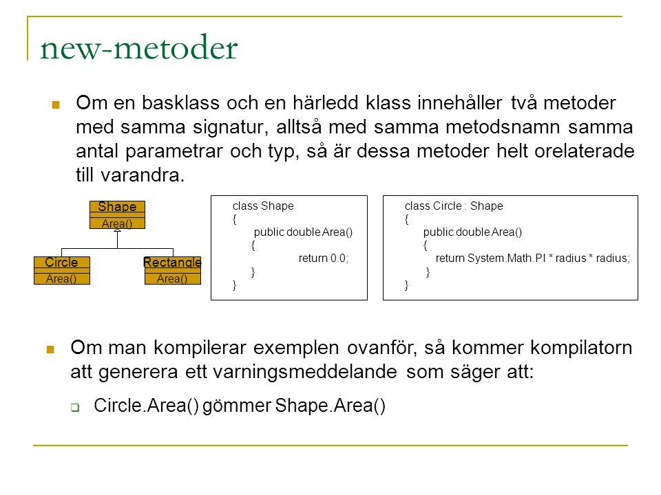 Om en basklass och en härledd klass innehåller två metoder med samma signatur, alltså med samma metodsnamn samma antal parametrar och typ, så är dessa metoder helt orelaterade till varandra.