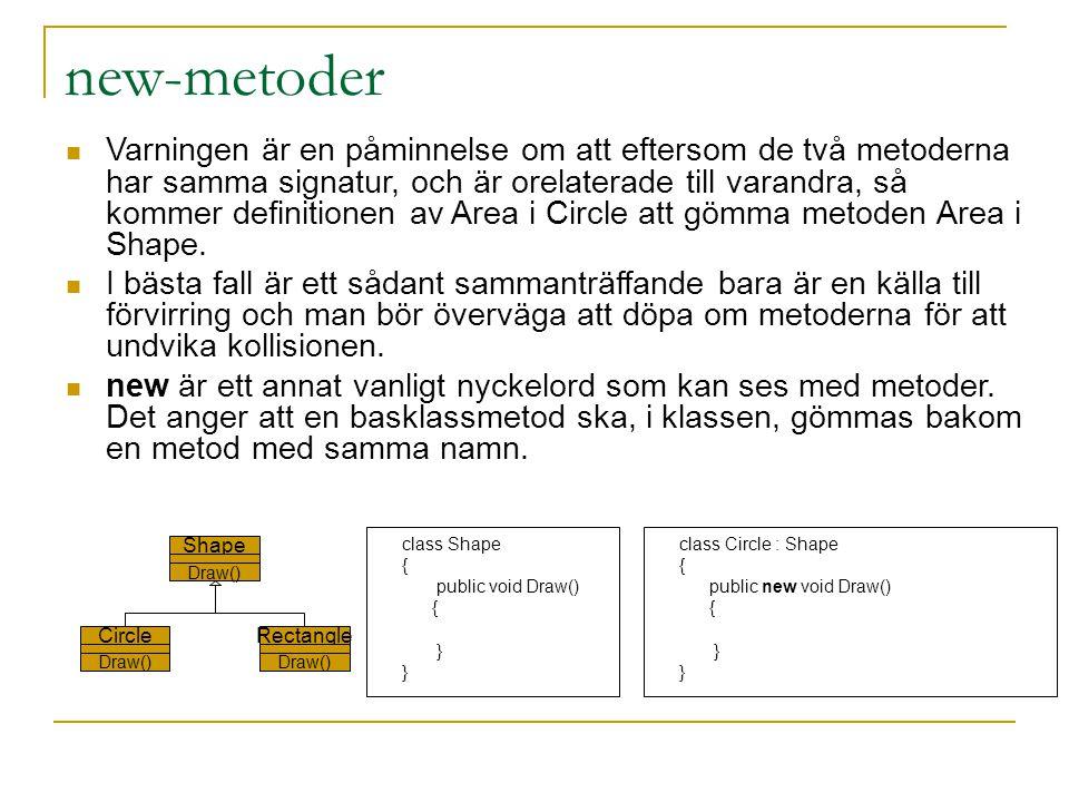new-metoder Varningen är en påminnelse om att eftersom de två metoderna har samma signatur, och är orelaterade till varandra, så kommer definitionen av Area i Circle att gömma metoden Area i Shape.