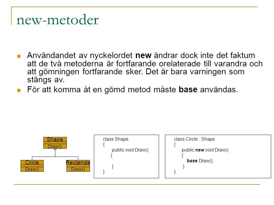new-metoder Användandet av nyckelordet new ändrar dock inte det faktum att de två metoderna är fortfarande orelaterade till varandra och att gömningen