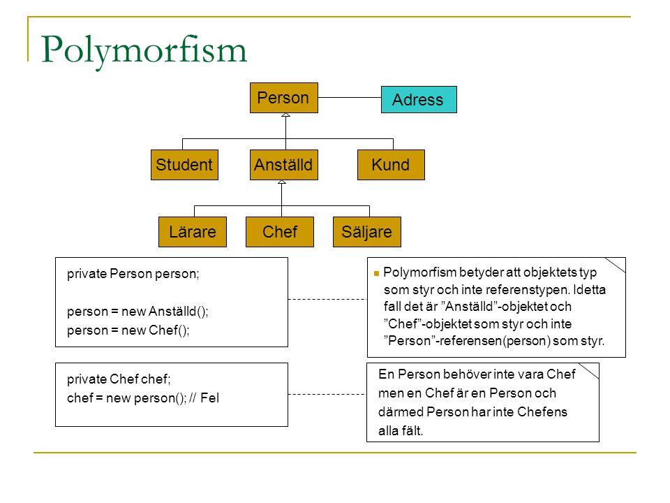 Virtuella metoder När en metod anropas via en referens av basklasstyp, men för ett objekt av härledd typ- vilken metod ska då väljas, referensens eller det faktiska objektets.