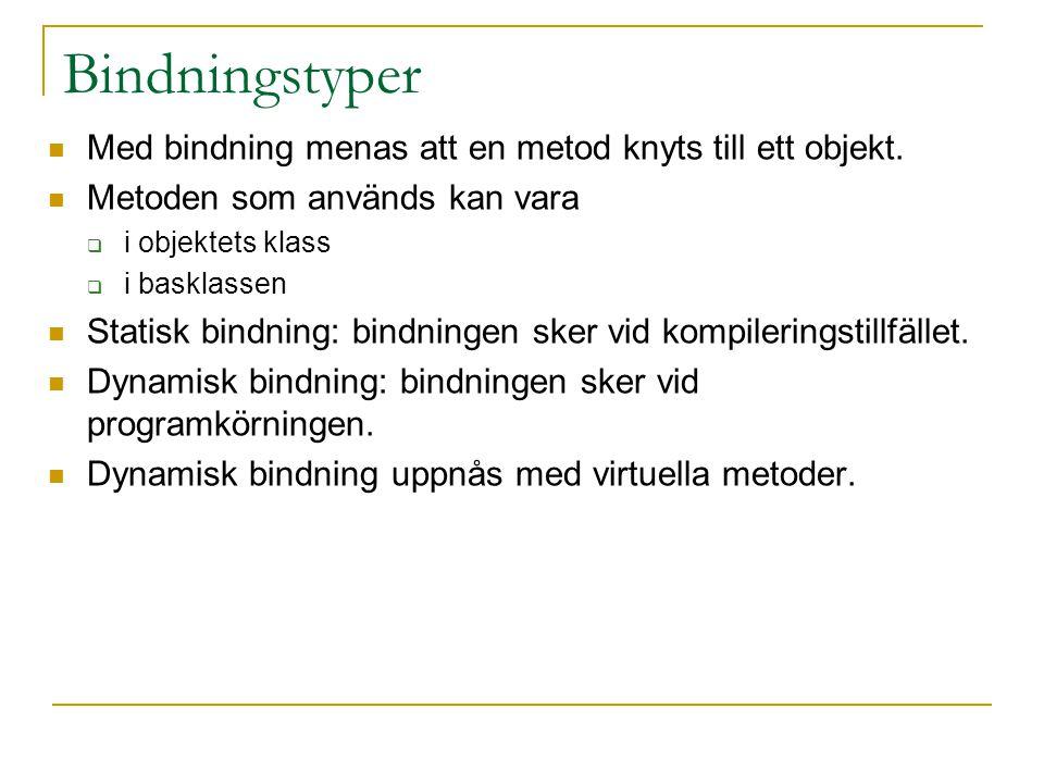 Bindningstyper Med bindning menas att en metod knyts till ett objekt. Metoden som används kan vara  i objektets klass  i basklassen Statisk bindning