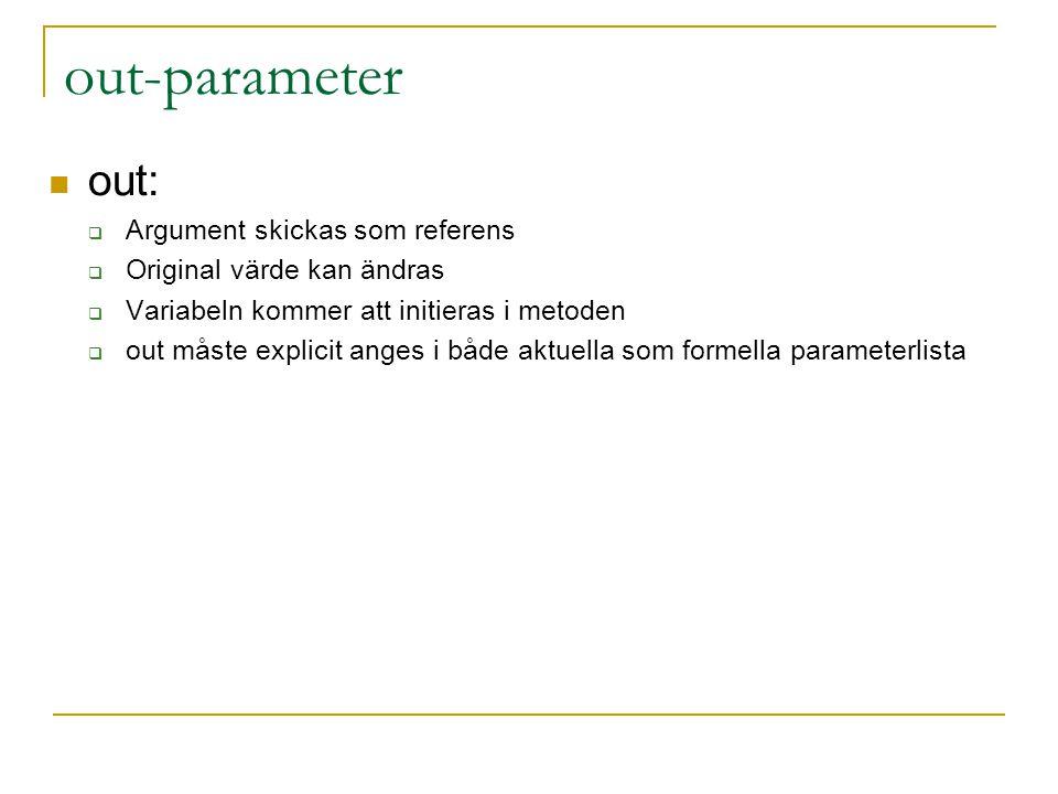 out-parameter out:  Argument skickas som referens  Original värde kan ändras  Variabeln kommer att initieras i metoden  out måste explicit anges i både aktuella som formella parameterlista