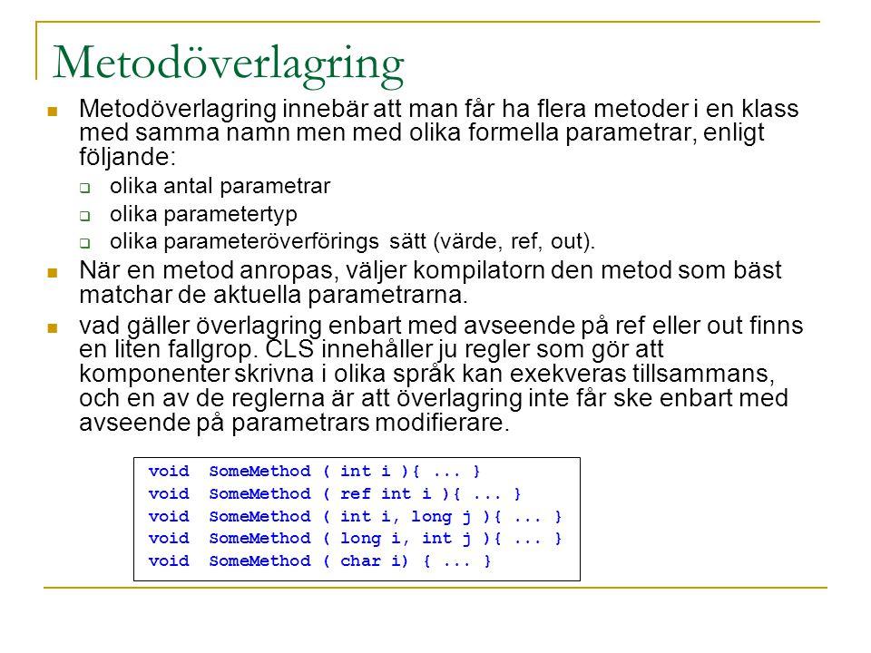 Metodöverlagring Metodöverlagring innebär att man får ha flera metoder i en klass med samma namn men med olika formella parametrar, enligt följande:  olika antal parametrar  olika parametertyp  olika parameteröverförings sätt (värde, ref, out).