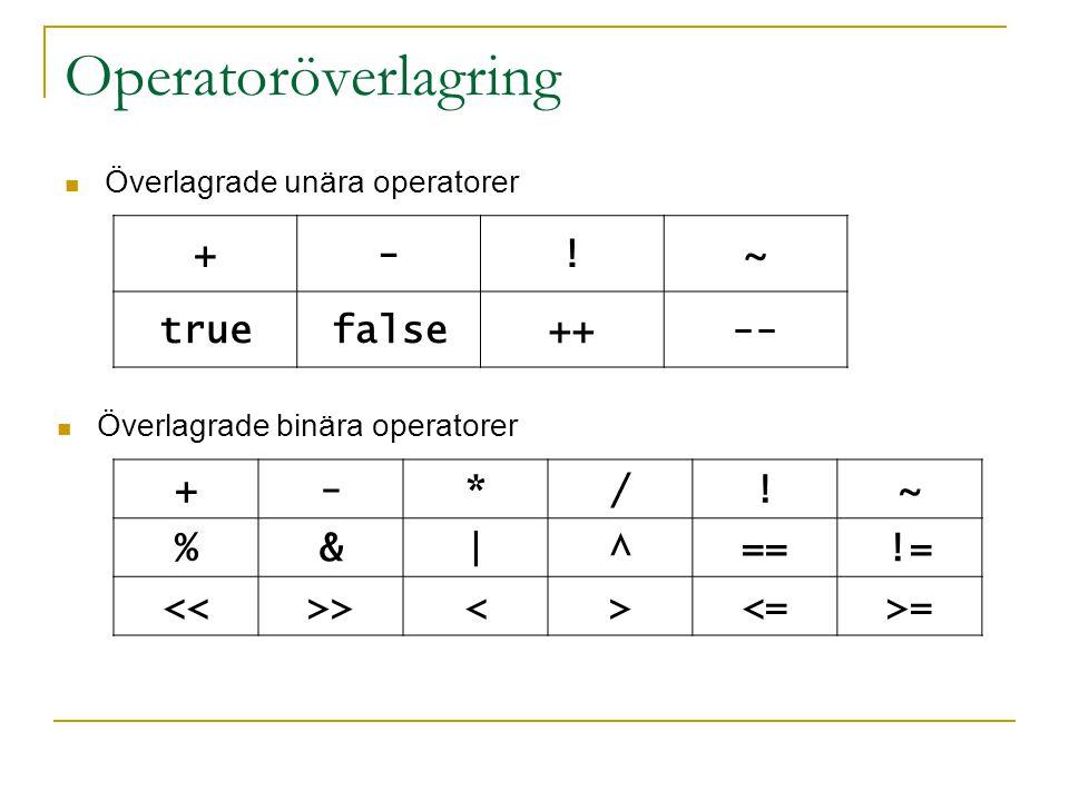 Operatoröverlagring Överlagrade unära operatorer +-!~ truefalse++-- Överlagrade binära operatorer +-*/!~ %&|^==!= <<>><><=>=