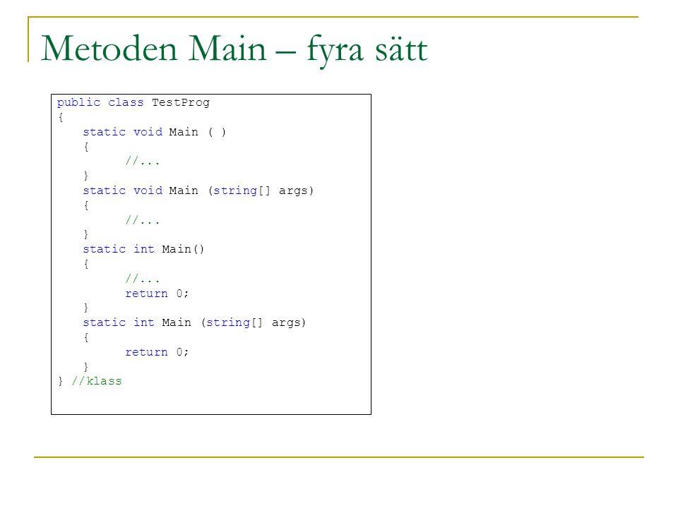 Metoden Main – fyra sätt public class TestProg { static void Main ( ) { //... } static void Main (string[] args) { //... } static int Main() { //... r
