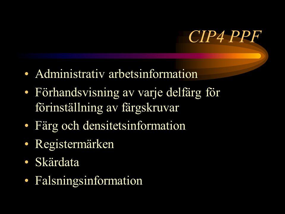 CIP4 PPF Administrativ arbetsinformation Förhandsvisning av varje delfärg för förinställning av färgskruvar Färg och densitetsinformation Registermärken Skärdata Falsningsinformation