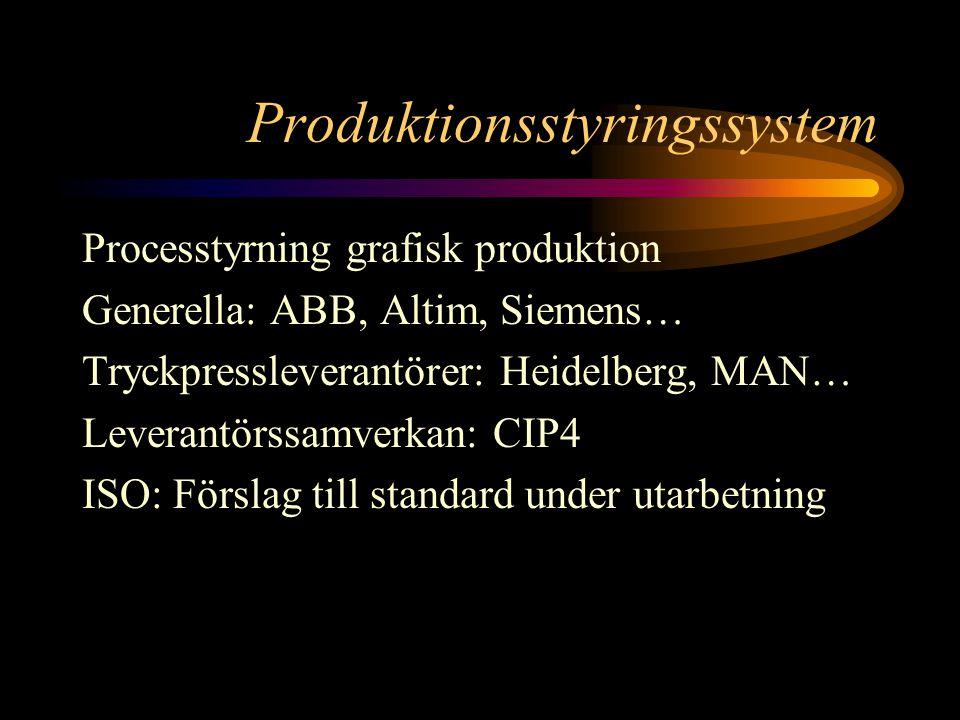 Produktionsstyringssystem Processtyrning grafisk produktion Generella: ABB, Altim, Siemens… Tryckpressleverantörer: Heidelberg, MAN… Leverantörssamverkan: CIP4 ISO: Förslag till standard under utarbetning