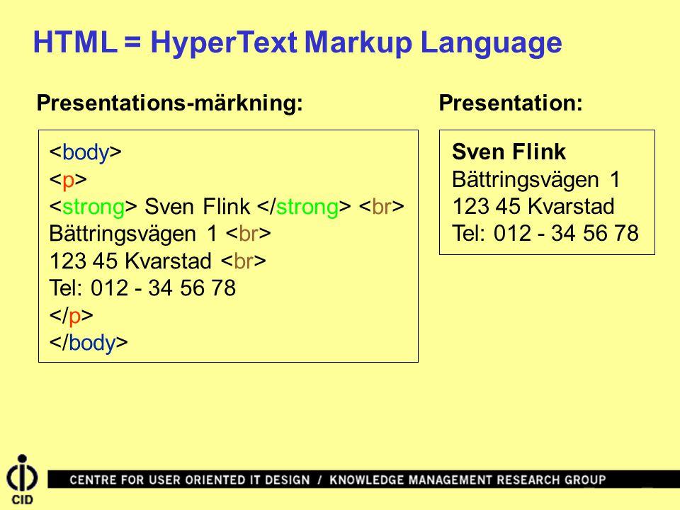HTML = HyperText Markup Language Sven Flink Bättringsvägen 1 123 45 Kvarstad Tel: 012 - 34 56 78 Presentations-märkning:Presentation: Sven Flink Bättringsvägen 1 123 45 Kvarstad Tel: 012 - 34 56 78