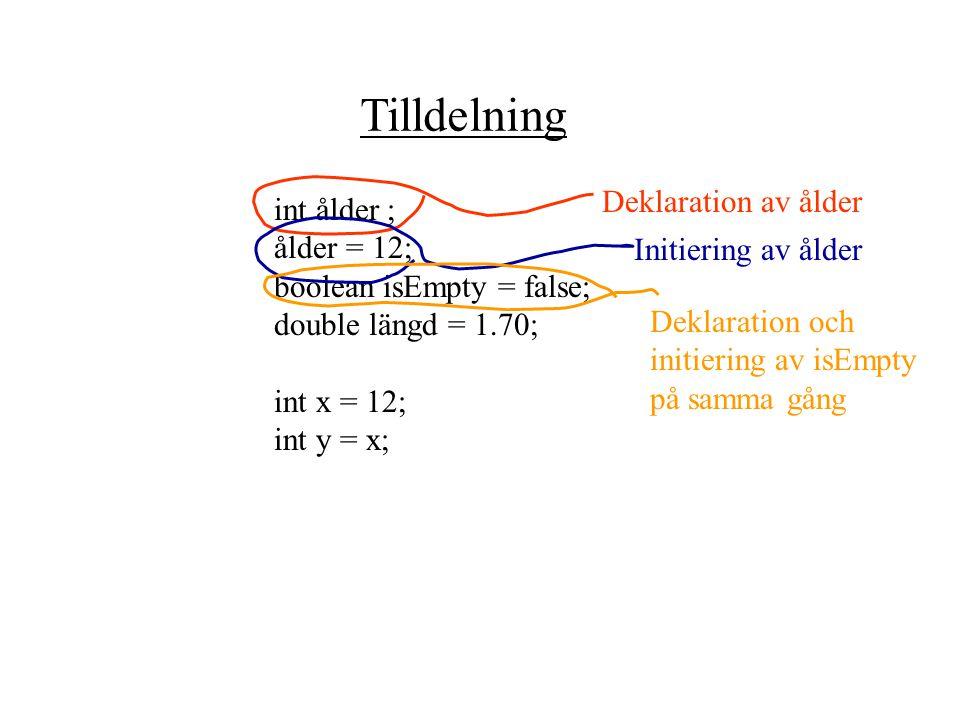 Variabler Variabel det är de namn i ett program som deklareras och kan innehålla ett värde. Obs! Variabelnamn väljs av programmeraren. t.ex: double lä