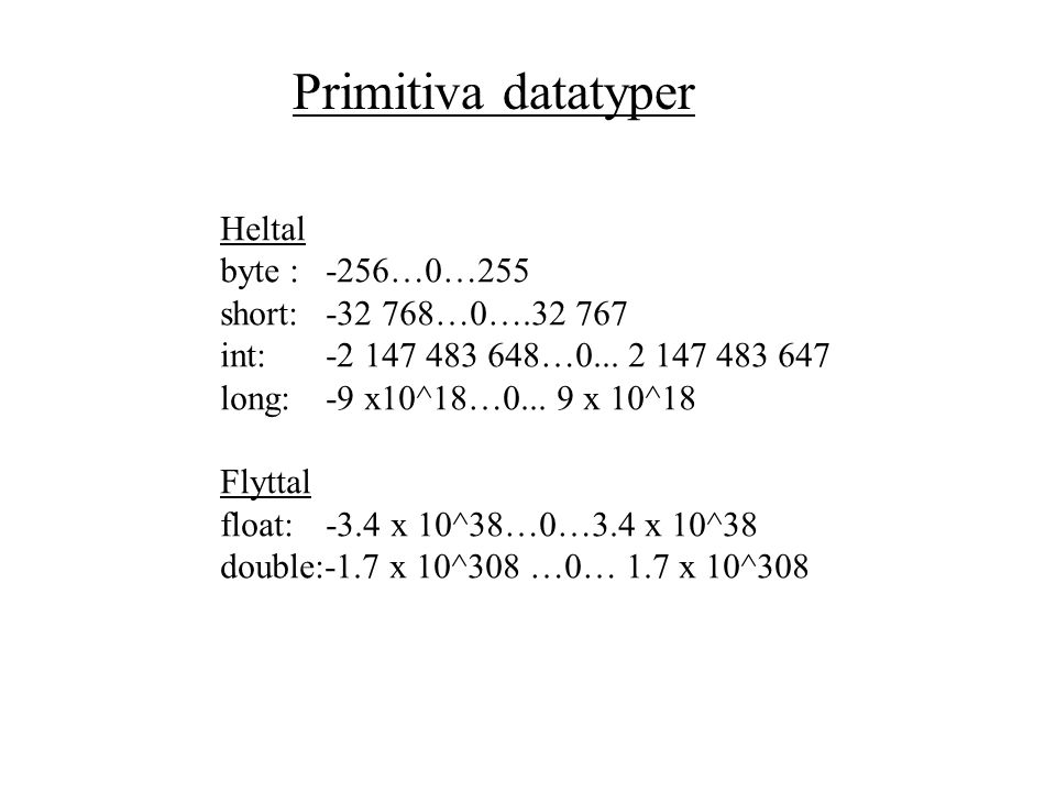 Primitiva datatyperKlasser i API och egna klasser int double byte float char boolean short long String BufferedReader InputStreamReader … Datatyper