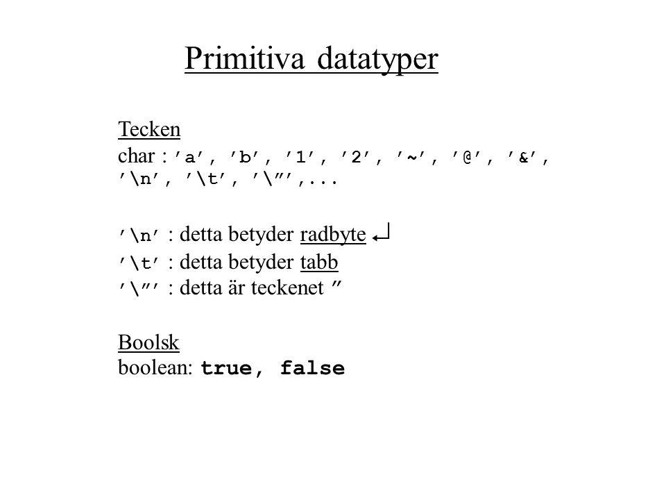 Primitiva datatyper Heltal byte :-256…0…255 short:-32 768…0….32 767 int:-2 147 483 648…0... 2 147 483 647 long:-9 x10^18…0... 9 x 10^18 Flyttal float: