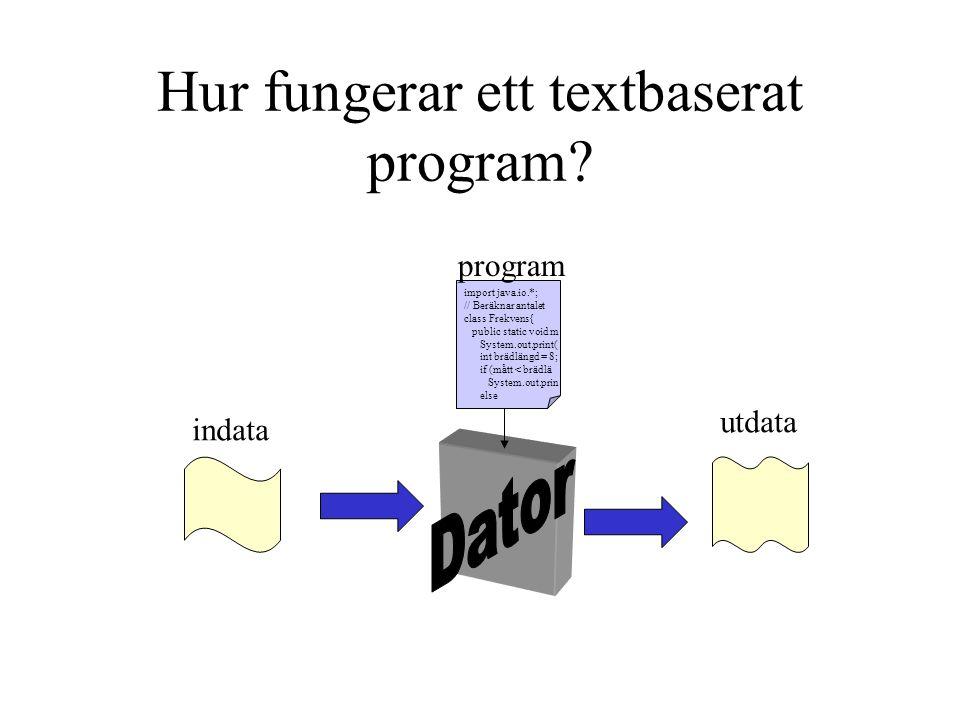 Hur fungerar ett textbaserat program? utdata indata program import java.io.*; // Beräknar antalet class Frekvens{ public static void m System.out.prin