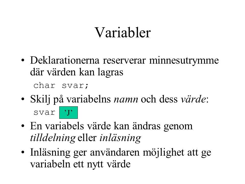 Variabler Deklarationerna reserverar minnesutrymme där värden kan lagras char svar; Skilj på variabelns namn och dess värde: svar En variabels värde k