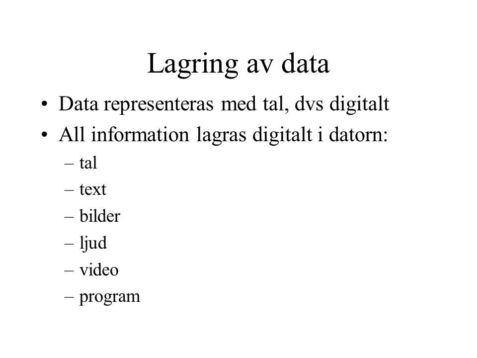 Lagring av data Data representeras med tal, dvs digitalt All information lagras digitalt i datorn: –tal –text –bilder –ljud –video –program