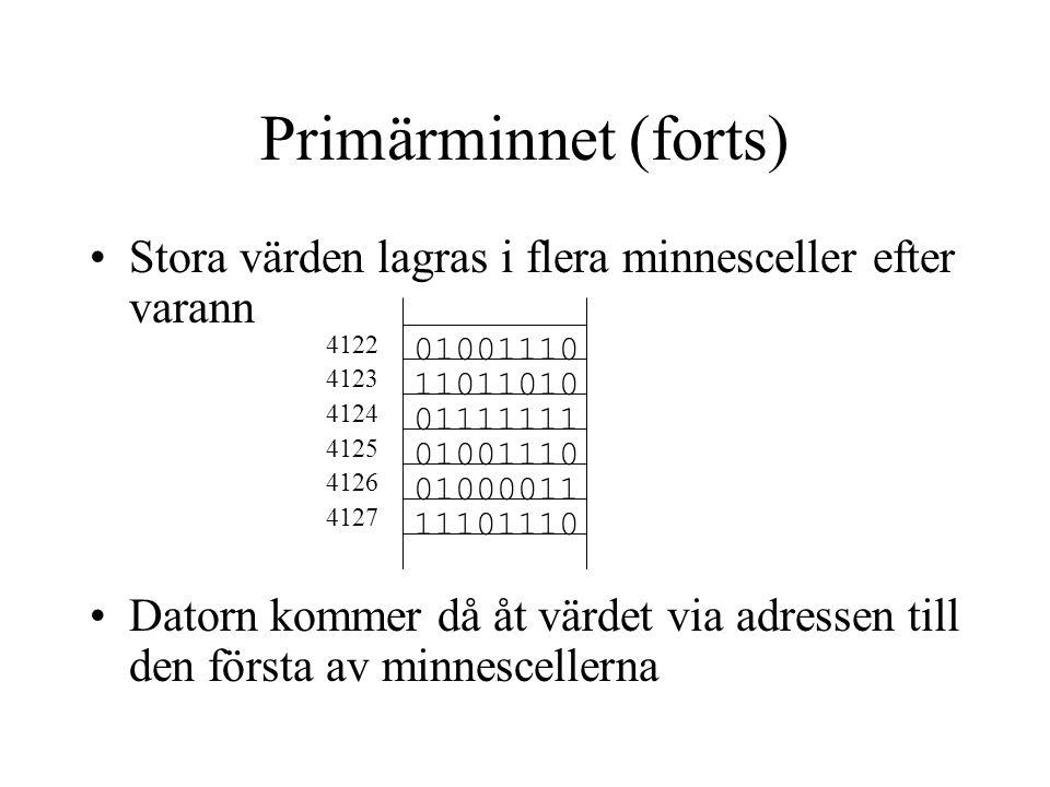 Sekundärminnet Data som ska sparas lägger man på en fil En fil kan t ex innehålla text, programkod eller data Filer som hör ihop brukar man lägga i en mapp (kallas också folder eller katalog)