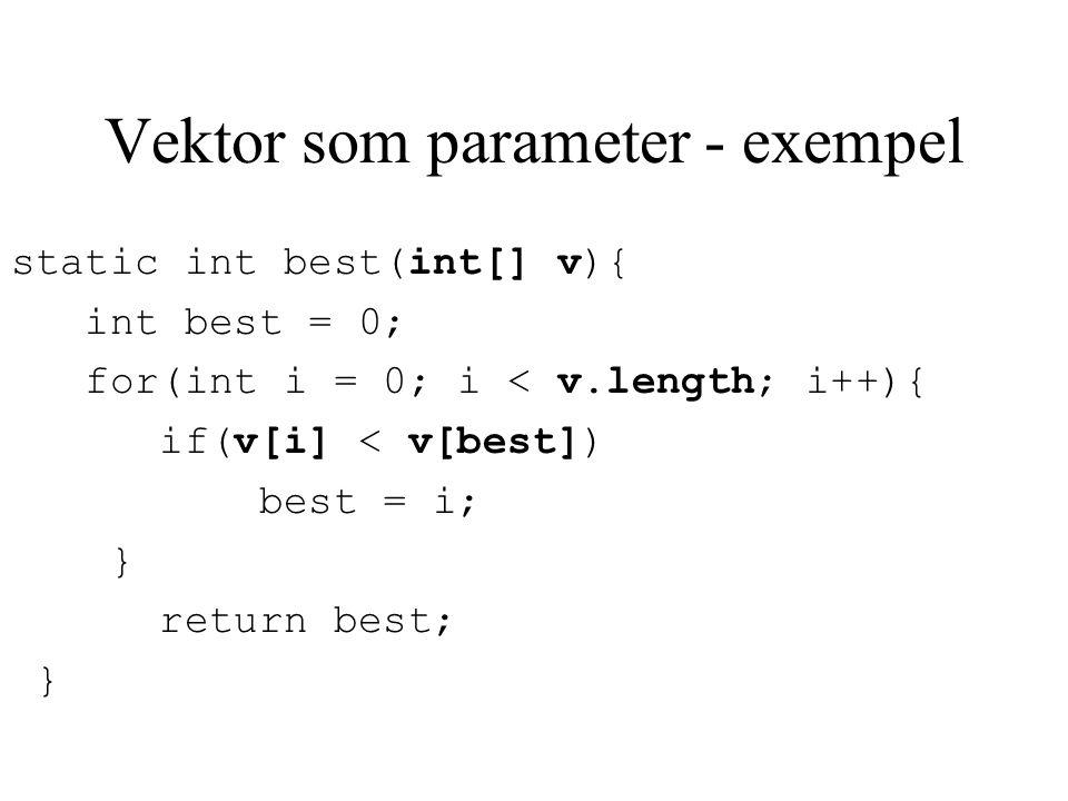 Vektor som parameter - exempel static int best(int[] v){ int best = 0; for(int i = 0; i < v.length; i++){ if(v[i] < v[best]) best = i; } return best;