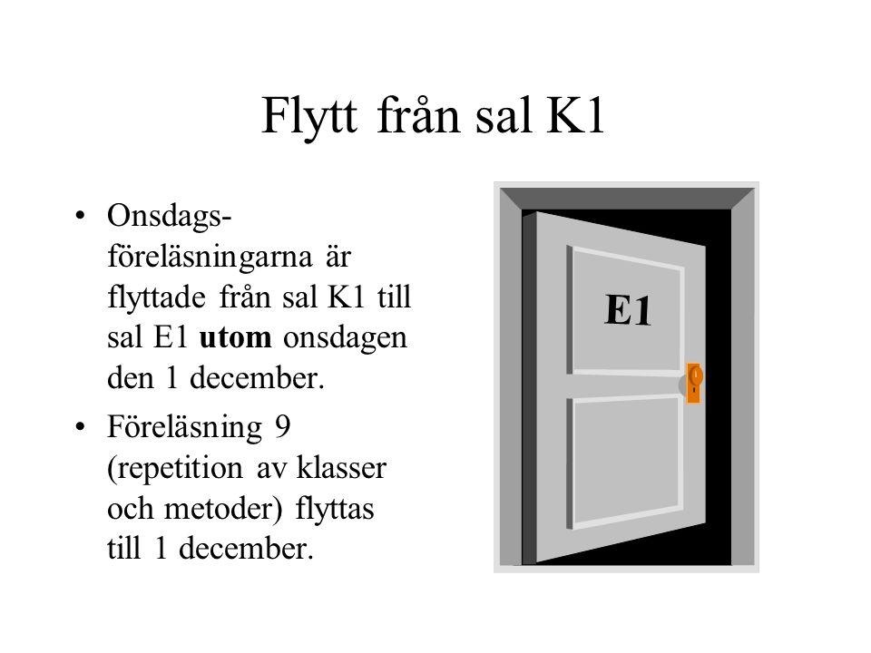 class Minigolf3 { public static void main(String[] args){ int n = 9; //antal banor String[] namn = { Linda , Hempa }; int m = namn.length(); //antal spelare int[][] slag = new int[m][n]; for(int i = 0; i < n; i++){ System.out.print( Bana +(i+1)+ : ); for(int j = 0; j < m; j++){ slag[j][i]=1+(int)(8*Math.random()); System.out.print(namn[j] + : ); System.out.println(slag[j][i] + ); } System.out.println(); }