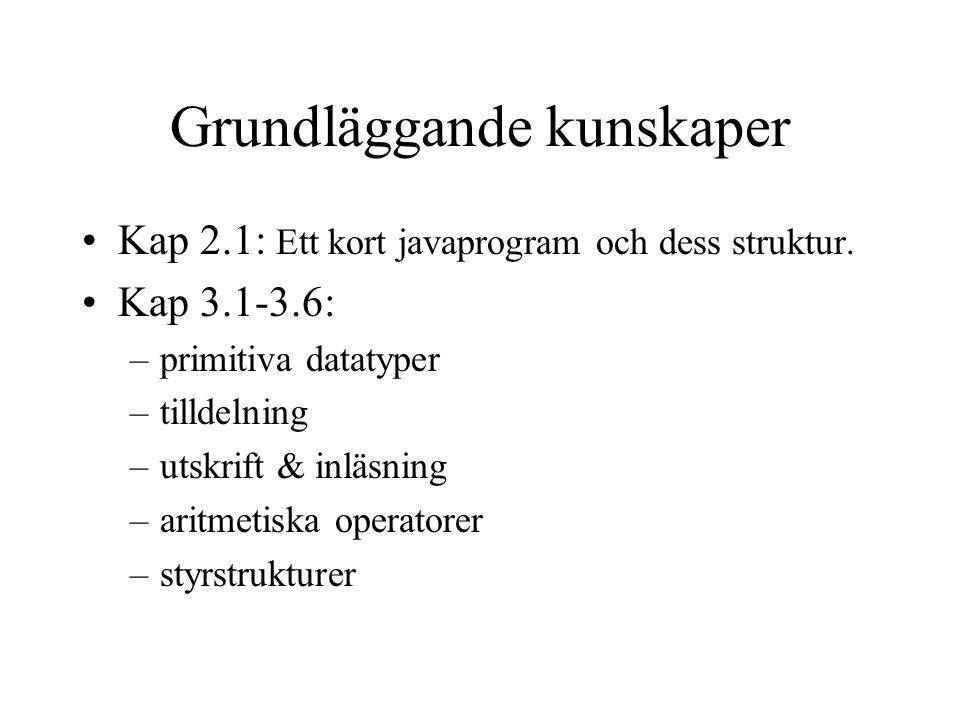Grundläggande kunskaper Kap 2.1: Ett kort javaprogram och dess struktur. Kap 3.1-3.6: –primitiva datatyper –tilldelning –utskrift & inläsning –aritmet