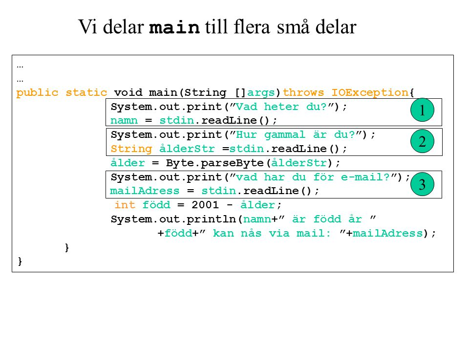 "Vi delar main till flera små delar … public static void main(String []args)throws IOException{ System.out.print(""Vad heter du?""); namn = stdin.readLin"
