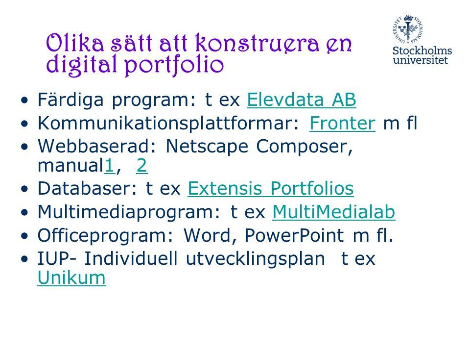 Länktips ePortfolio http://www.eife-l.org/publications/eportfolio/ Myndigheten för skolutveckling – Pim http://www.pim.skolutveckling.se/handledningar/presentera/pimplus_multimaskinen/7/ Multimediabyrån: http://www.multimedia.skolutveckling.se/Tema/Portfolio/ http://www.multimedia.skolutveckling.se/Reportage/Dokumentera/Digital-portfolio/ http://www.multimedia.skolutveckling.se/Reportage/Presentera/Multimedia-i-forskolan/ Nationellt centrum för flexibelt lärande (sök på portfolio) http://www.cfl.se/ Tidningen Datorn i utbildningen har artiklar om digital portfolio (sök på PORTFOLIO): http://www.diu.se/databas/sok.asp