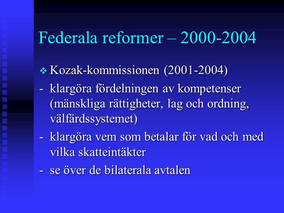 Federala reformer – 2000-2004  Kozak-kommissionen (2001-2004) -klargöra fördelningen av kompetenser (mänskliga rättigheter, lag och ordning, välfärdssystemet) -klargöra vem som betalar för vad och med vilka skatteintäkter -se över de bilaterala avtalen