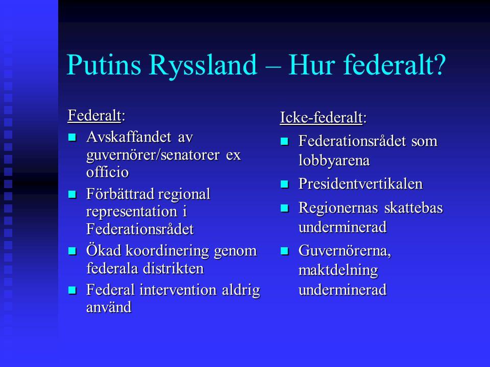 Putins Ryssland – Hur federalt? Federalt: Avskaffandet av guvernörer/senatorer ex officio Avskaffandet av guvernörer/senatorer ex officio Förbättrad r